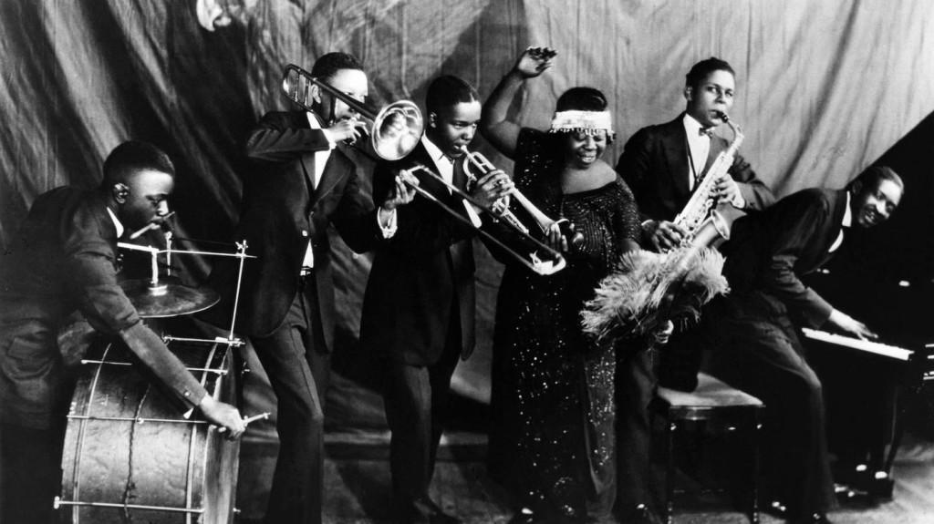 Ma Rainey Georgia Jazz Band, 1920s posing for a studio group shot in the mi